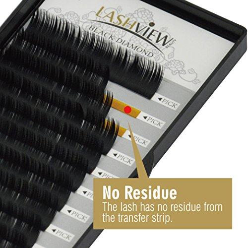 LASHVIEW 0 20 Thickness Silk Mink D Curl Fake Eyelash Extensions Mixed Tray  8-15mm Natural Thick Lashes Individual Semi-Permanent Eyelashes