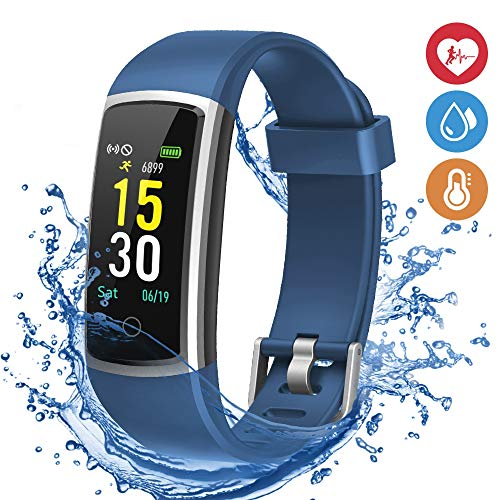 moreFit Waterproof Activity Tracker, Fitness Tracker Color Screen Smart Watch, Blood Pressure Watch with Sleep Monitors, Heart Rate Calorie Pedometers Call/SMS Alert for Women Men Students Kids Blue
