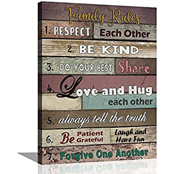ARTSPIRIT Canvas Wall Art for Living Room Inspirational Wall Art Motivational Quotes Poster Canvas Art Print Family Rules for Dining Kitchen Kids' Room Home Decoration 12x16