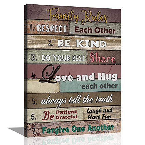 ARTSPIRIT Canvas Wall Art for Living Room Inspirational Wall Art Motivational Quotes Poster Canvas Art Print Family Rules for Dining Kitchen Kids' Room Home Decoration 12x16 (Wall Rooms For Art)