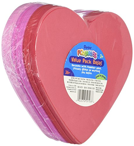 Darice Valentine's Day Value Pack Red, Pink Foam Heart Base-36 pc (1 (Foamies Heart)