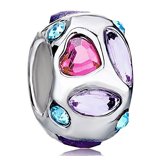Heart Birthstone Crystal Charms Bracelet