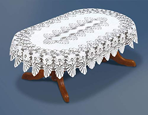 (Oval White Lace Tablecloth Reusable Table Cover 72