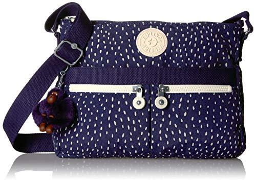 (Kipling Women's Angie Crossbody Bag, Adjustable Shoulder Strap, Zip Closure, SURREAL Dot Blue)