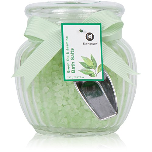 Natural Bath Salts by Eve Hansen in Green Tea and Jasmine Scent. Large 25 Ounce Glass Jar. Skin Nourishing And Relaxing Bath Salt. Great for Gift. Aromatherapy Essential Oils Soothing Bath Treatment. Bath Sea Salt Jar