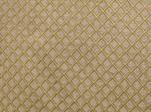 Upholstery Chenille Oatmeal Diamond Drapery home fabric by the yard 57