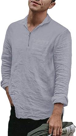 Mens Summer Linen Hippie Shirts Long Sleeve V Neck Casual T-Shirt Button Tops