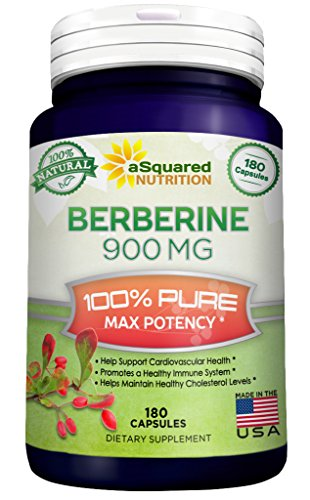 Pure Berberine 900mg Supplement – 180 Capsules, Natural Berberine Hydrochloride HCL Plus, Max Strength Almost 1000mg (2x 450mg), Potent Extract for Healthy Blood Sugar Levels & Blood Glucose