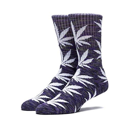 HUF Men's Streaky Plantlife Crew Sock, Purple/Black/White, One - Newbury High Street Shops