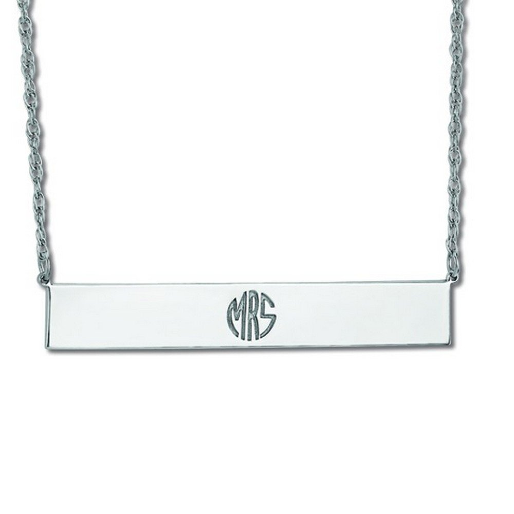 Customizable Monogram Bar Pendant Necklace in Sterling Silver