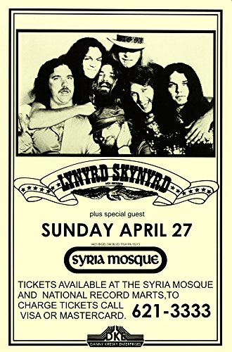 Lynyrd Skynyrd Syria Mosque 1975 Live Concert Retro Art Print — Poster Size — Print of Retro Concert Poster — Features Gary Rossington, Rickey Medlocke, Johnny Van Zant, Michael Cartellone, Mark Matejka, Peter Keys and Johnny (Lynyrd Skynyrd Posters)