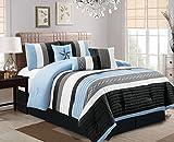 Oversized King Bed in a Bag Set Luxlen 7 Piece Bed in bag Comforter Set, Oversized, Cal King, Blue