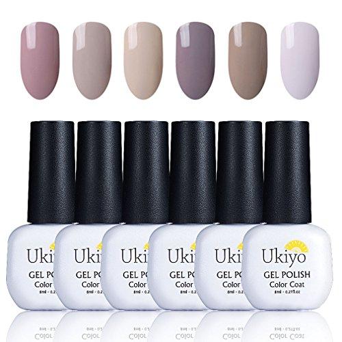 Nail Polish Set Nude Nail Polish Soak Off UV LED Nail Art Kit 6PCS by Ukiyo