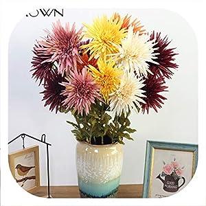 Memoirs- Artificial 2 Heads Marigold Flower Silk Fake Chrysanthemum Flowers Simulation Plants Wedding Party Decorative Home Decor 26