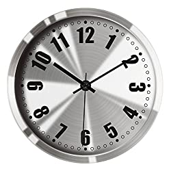 Hippih 12Non-ticking Silent Wall Clock- Metal Frame Glass Cover