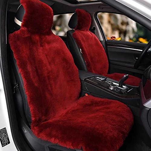 (IMQOQ A Pair Genuine Sheepskin Short Wool Car 2 Front Seat Covers Set Winter Warm Universal Wine Red)