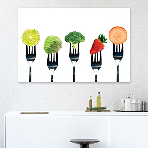 Fork Wall - wall26 Canvas Wall Art - Fruits and Vegetables on Forks - Giclee Print Gallery Wrap Modern Home Decor Ready to Hang - 24x36 inches