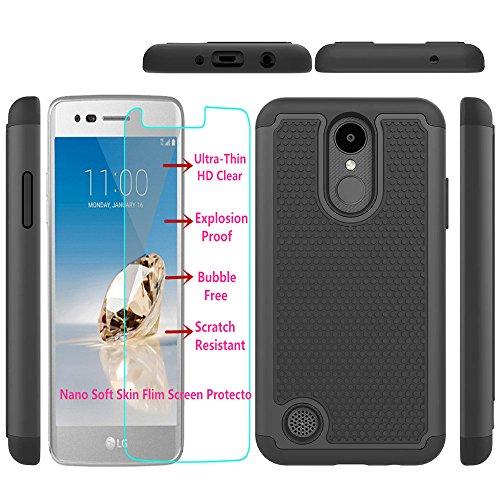 LG Aristo/LG Phoenix 3 /LG K8 2017/LG Risio 2 /LG K4 2017 Case with Nano  Soft Skin Screen Protector, I VIKKLY Heavy Duty Hybrid Dual Layer [Drop