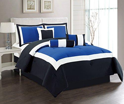 7 Piece Oversize NAVY BLUE / BLACK / GREY Color Block Comforter set 90