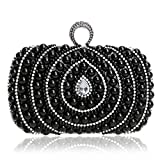 EPLAZA Women Rhinestone Beaded One Ring Evening Clutch Bags Handbags Bridal Wedding Party Purse (B)