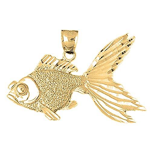 Jewels Obsession Goldfish Charm Pendant | 14K Yellow Gold Goldfish Pendant - 30 mm (14k Yellow Gold Goldfish Pendant)