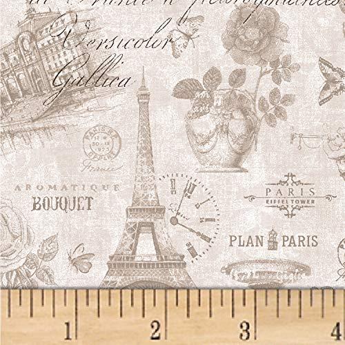 - Oasis Fabrics Paris Tonal Fabric, Ecru, Fabric By The Yard