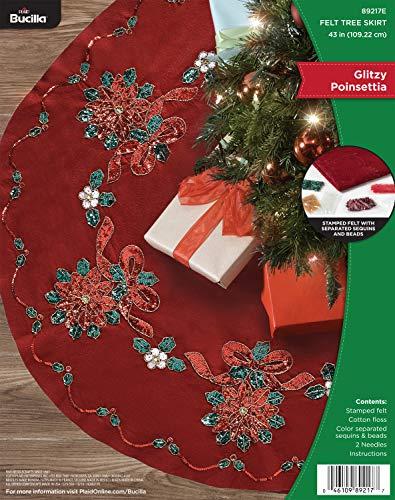 Bucilla 89217E Glitzy Poinsettia Felt Applique Tree Skirt Kit