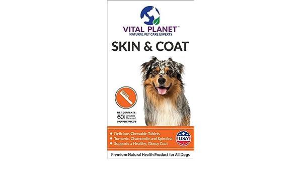 Vital Planet Piel y capa tabletas masticables ácido Omega 3 grasa suplemento para el soporte final perros para un masticable de 60 tabletas capa saludable: ...