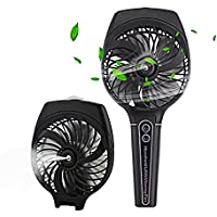 Wua Handheld Misting Fan, Portable Cooling Mist Humidifier USB Fan with Rechargeable Battery Personal Foldable Water Spray Fan for Outdoors, Home, Office (Black)