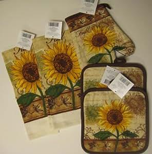 Amazon Com Fall Sunflower Kitchen Towel Set With Pot