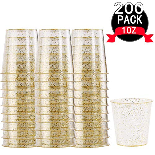 WELLIFE 200 PACK Gold Glitter Plastic Shot Glasses, 1 OZ Disposable Clear Party Cups, Premium Hard Plastic Shot Cups, Perfect Mini Container Ideal for Whisky and Any Food Sample