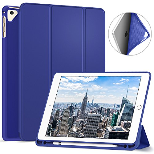 Ztotop Newest iPad 9.7 Inch 2018 Case with Pencil Holder - Lightweight Soft TPU Back Cover and Trifold Stand with Auto Sleep/Wake, Protective for Apple iPad 6th Generation(A1893/A1954), Blue