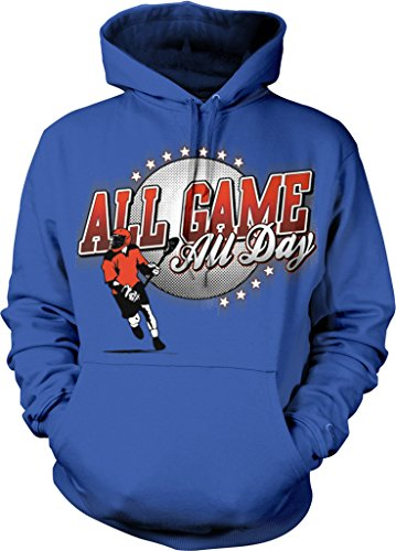 All Game, All Day Men's Lacrosse, LAX Hooded Sweatshirt, NOFO Clothing Co. L Royal (Lacrosse Net Gait)