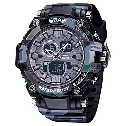 XBKPLO Quartz Watches Men's Fashion Sport Waterproof Analog Wrist Watch Large Dial Automatic Calendar Camouflage TPU Strap Watch Jewelry ()