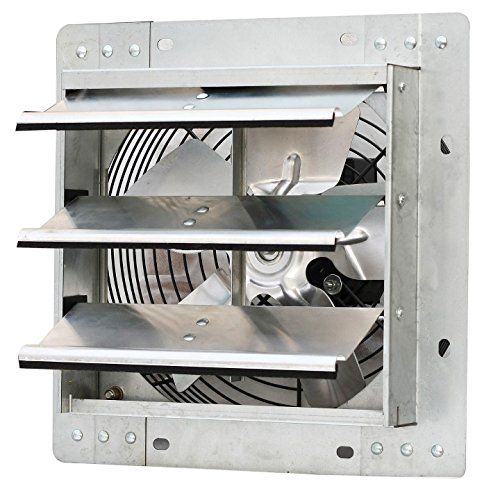 Iliving 10 Inch Variable Speed Shutter Exhaust Fan, Wall-Mounted, 10 (Kit Louver Vertical)