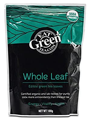 Organic Matcha Green Tea Leaves - Antioxidant Whole Leaf Edible Green Tea - 100 grams