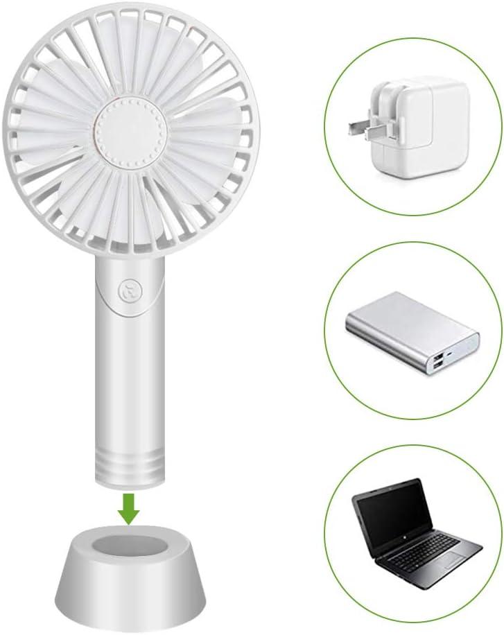 Ventilador de mano, ventilador USB, mini ventilador de mesa, portátil con difusor de aroma desmontable 3 velocidades con base, para oficina, hogar y al aire libre