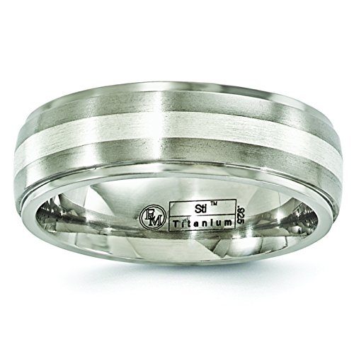 Edward Mirell Titanium and Sterling Silver 7mm Miligrain Wedding Band Ring ()