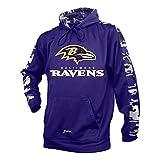 Zubaz NFL Baltimore Ravens Men's Camo Print Accent Team Logo Synthetic Hoodie, Small, Purple