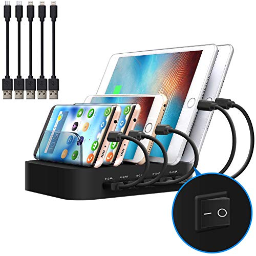 JZBRAIN Multi Device Charging Station Black 5 Port USB Charger Dock Organizer for Phones Tablets and Other Devices(5 Short Cables Included) - Dividers Multi 5 Tab