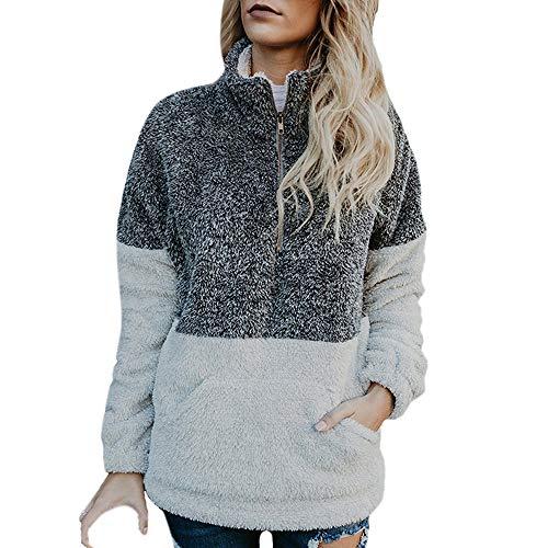 1/4 Pullover Zip Anorak (Dressin Women Long Sleeve Zipper Sherpa Sweatshirt Soft Fleece Pullover Outwear Coat)