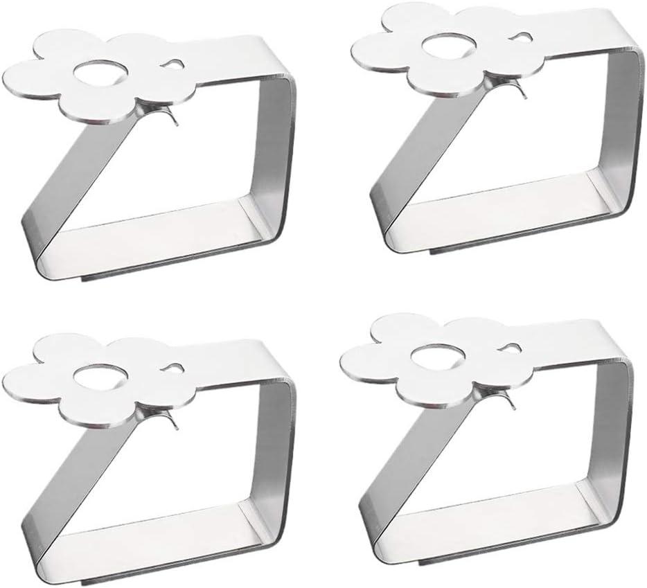 Emsmil Tovaglia Clip in Acciaio Inossidabile Set 4 Pezzi a Forma di Fiori Decorative Morsetti per Tovaglie Kitchen Craft Clip da Tavolo per Interno ed Esterno