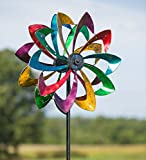 Outdoor Solar LED Metal Flower Garden Wind Spinner Sculpture, 24.5 dia x 11.5 D x 75 H - Antique