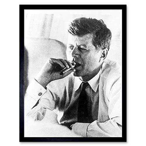 Wee Blue Coo Vintage Photography Portrait President John Kennedy Smoke Cigar JFK USA Art Print Framed Poster Wall Decor 12x16 -