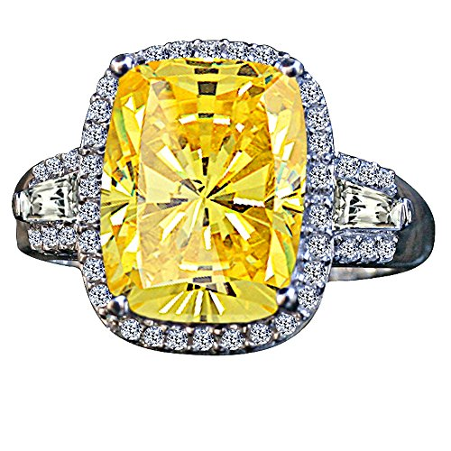 Diamond Veneer - 8 Ct. Cushion Radiant Center Halo Setting Side Tapered Baguettes Simulated Diamond Ring (Canary, 7)