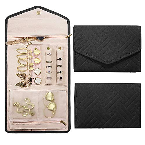 Rixfit Travel Jewellery Organizer Roll Foldable Jewelry Storage Bag Organizer for Journey-Rings, Necklaces, Bracelets, Earrings,Brooches and More (Black) Black Diamond Travel Jewelry
