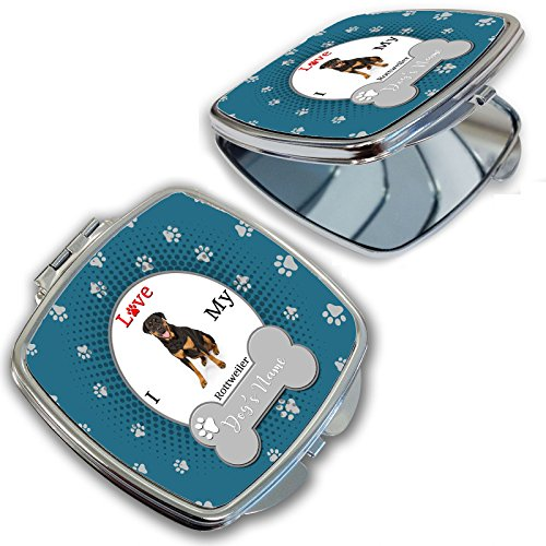 - BleuReign(TM) Personalized Custom Name I Love My Dog Rottweiler Compact Mirror