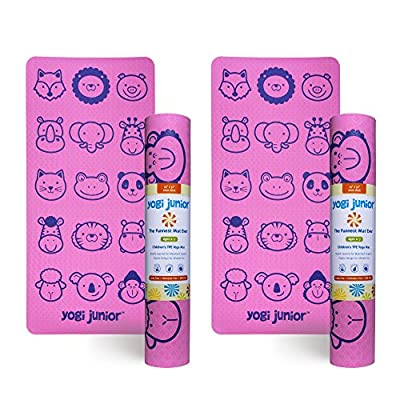 Yogi Junior Kids Yoga Mat - PVC Free - Double Layered TPE Foam - Non-Toxic and Earth-Friendly - Infant to 7 Year Old
