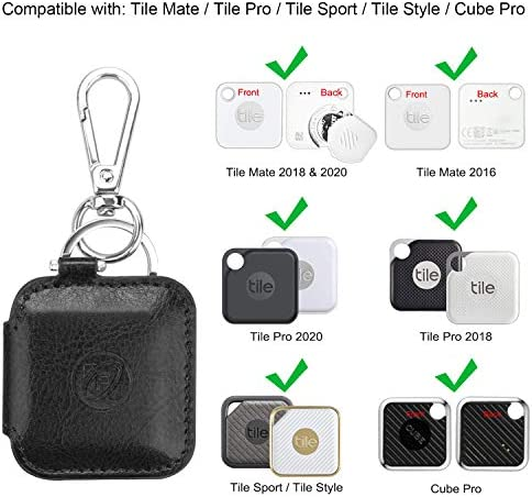 Fintie Case for Tile Mate Tile Pro Tile Sport Tile Style Cube Pro Key Finder, Vegan Leather Protective Cover for 2020 2018 and All Generations Tile, Black