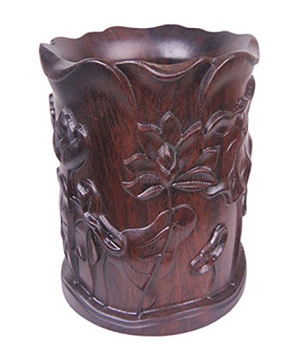 High-grade Siam Rosewood Chinese Writing Brush Pot Pen & Pencil Container/holder/case Hand Carving with Box Home & Office Decor by Charming China Calligraphy and Painting Tools